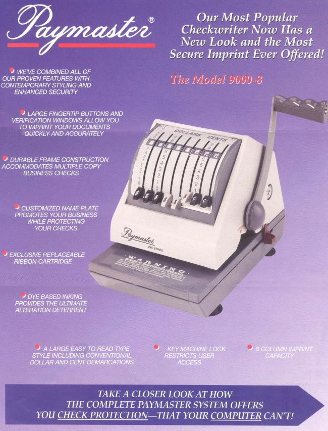 Model 9000 8 Check Writer Paymaster Checkwriters